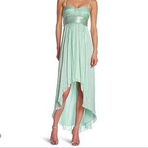 """BCBGMaxAzria """"Alicia"""" Silk Green Sash Gown"""